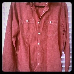 Red button down mens shirt
